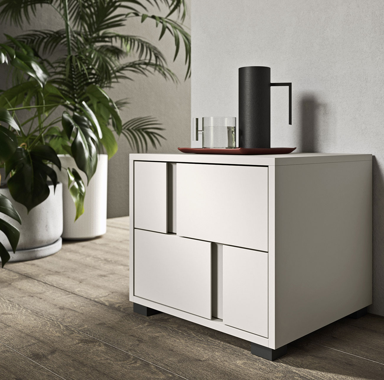 Contemporary design bedside with offset handle grips