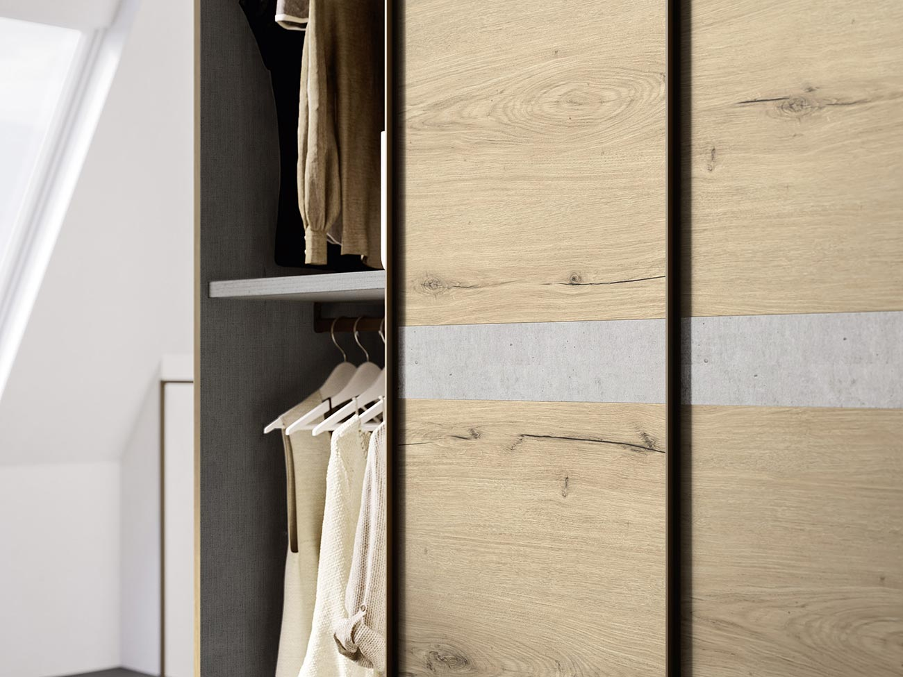 contemporary style sliding-door wardrobe with central insert