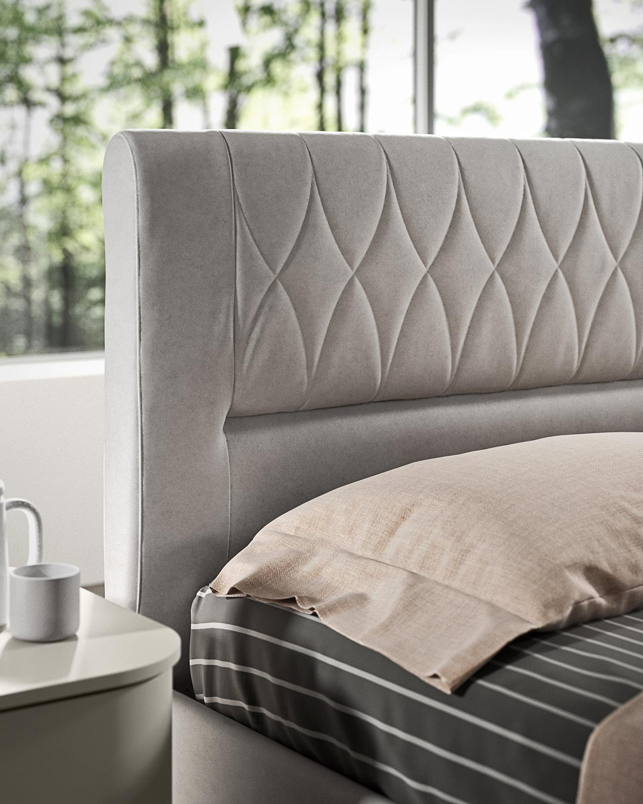 faux leather double bed with container detail 1