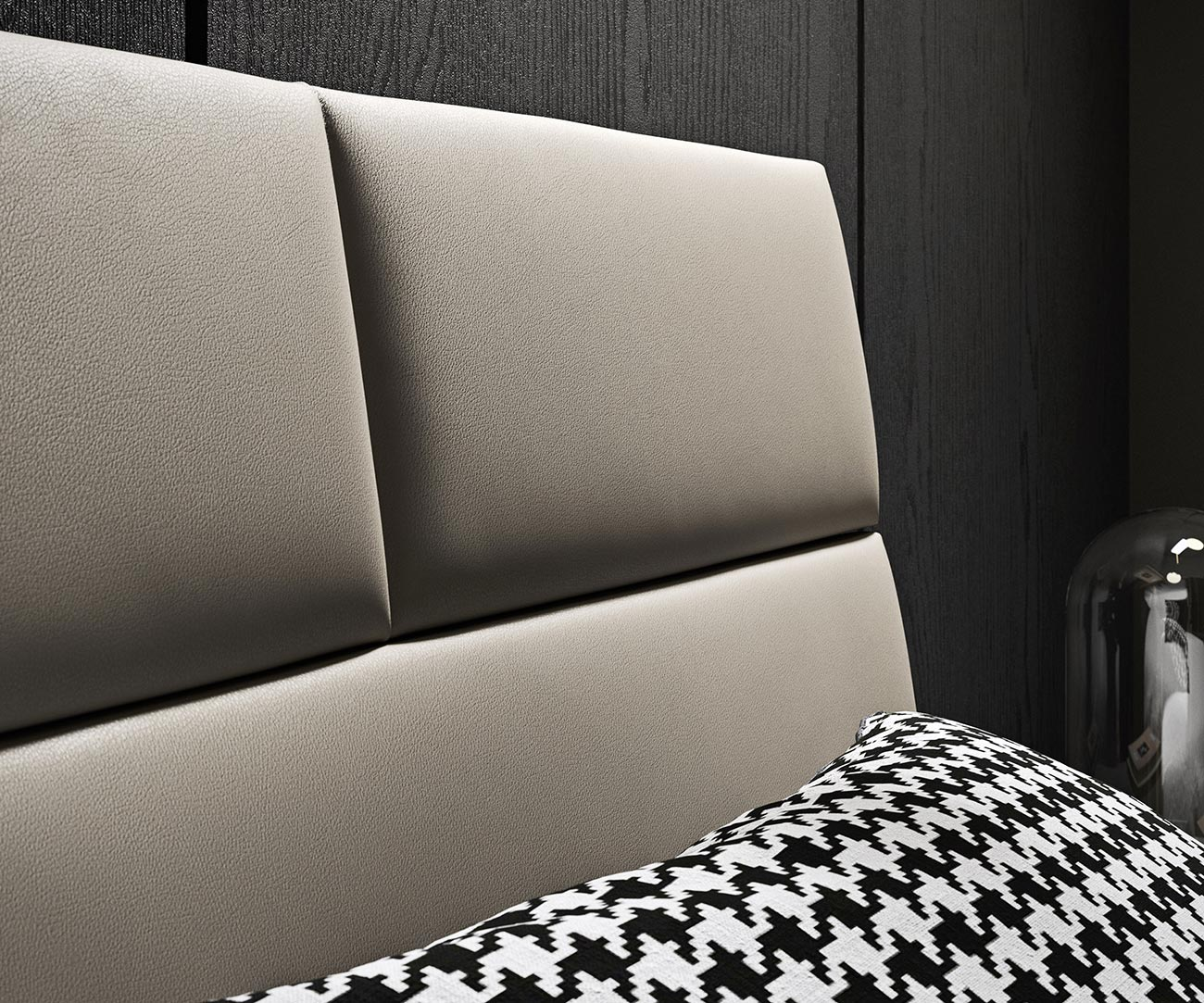 Double bed with faux-leather upholstered headboard