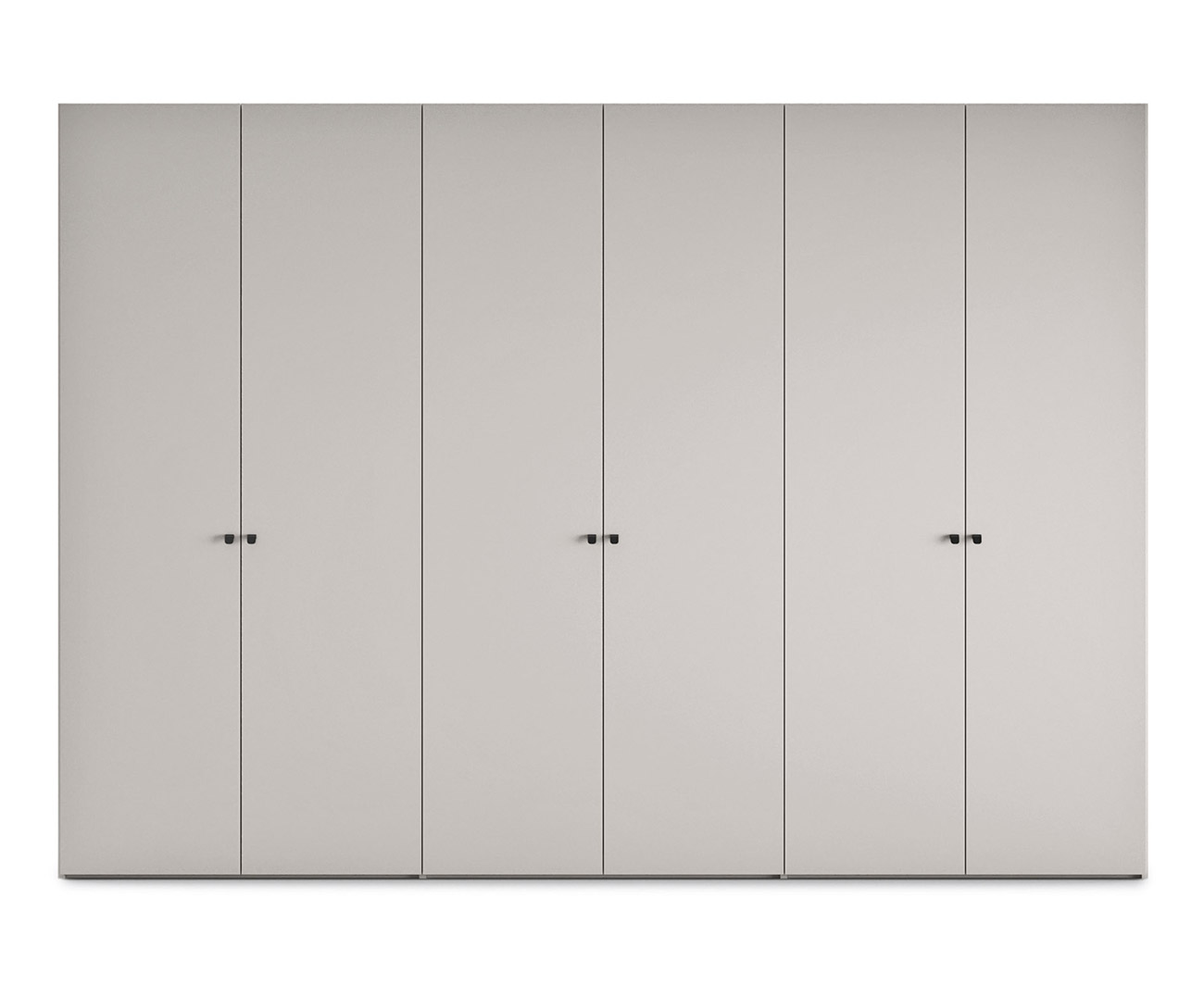 hinged-door wardrobe with black titanium stainless steel finished ball grip