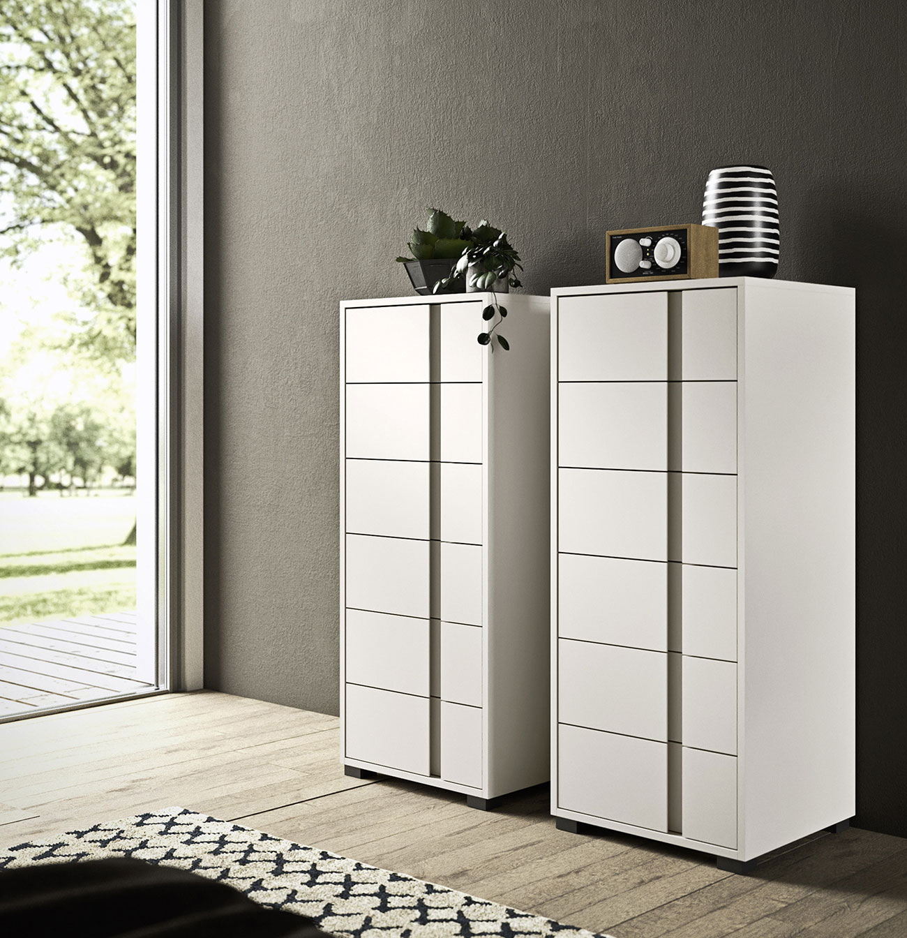 contemporary style chests of drawers with tone-on-tone finish