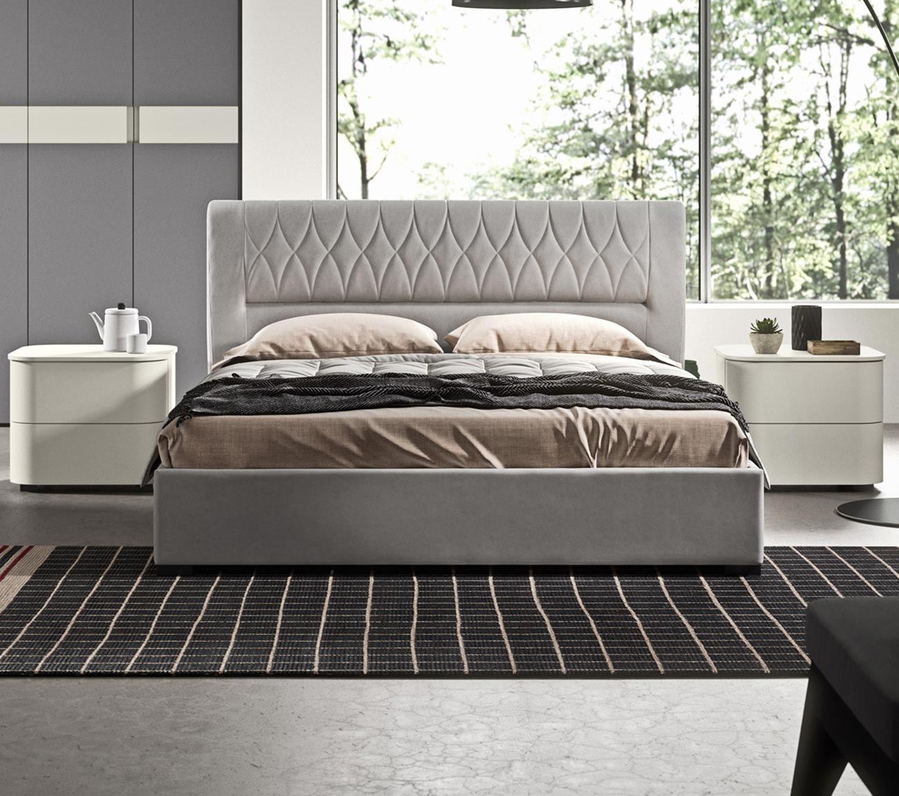 faux leather double bed with container detail 2