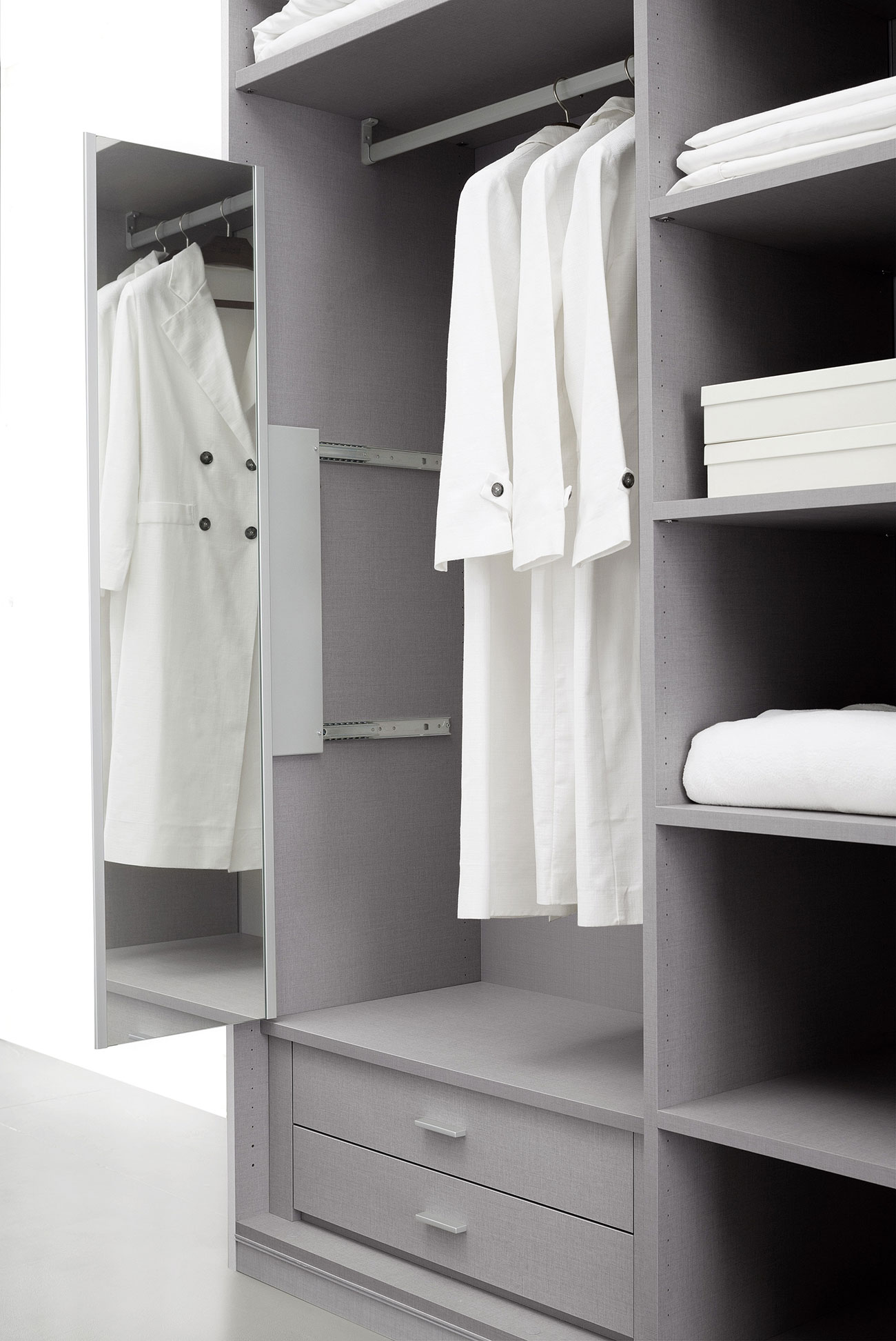 walk-in wardrobe with pull-out mirror