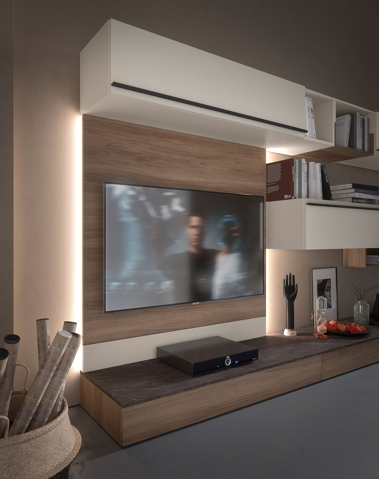 storage wall with TV panel for your contemporary style living room