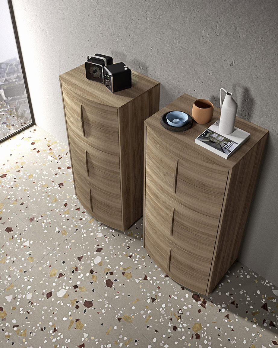 Modern bow bedsides, drawer units and chests 3