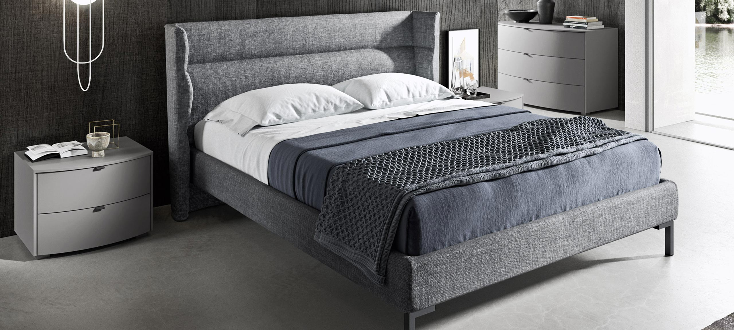Contemporary style fabric and faux leather lined double bed 4