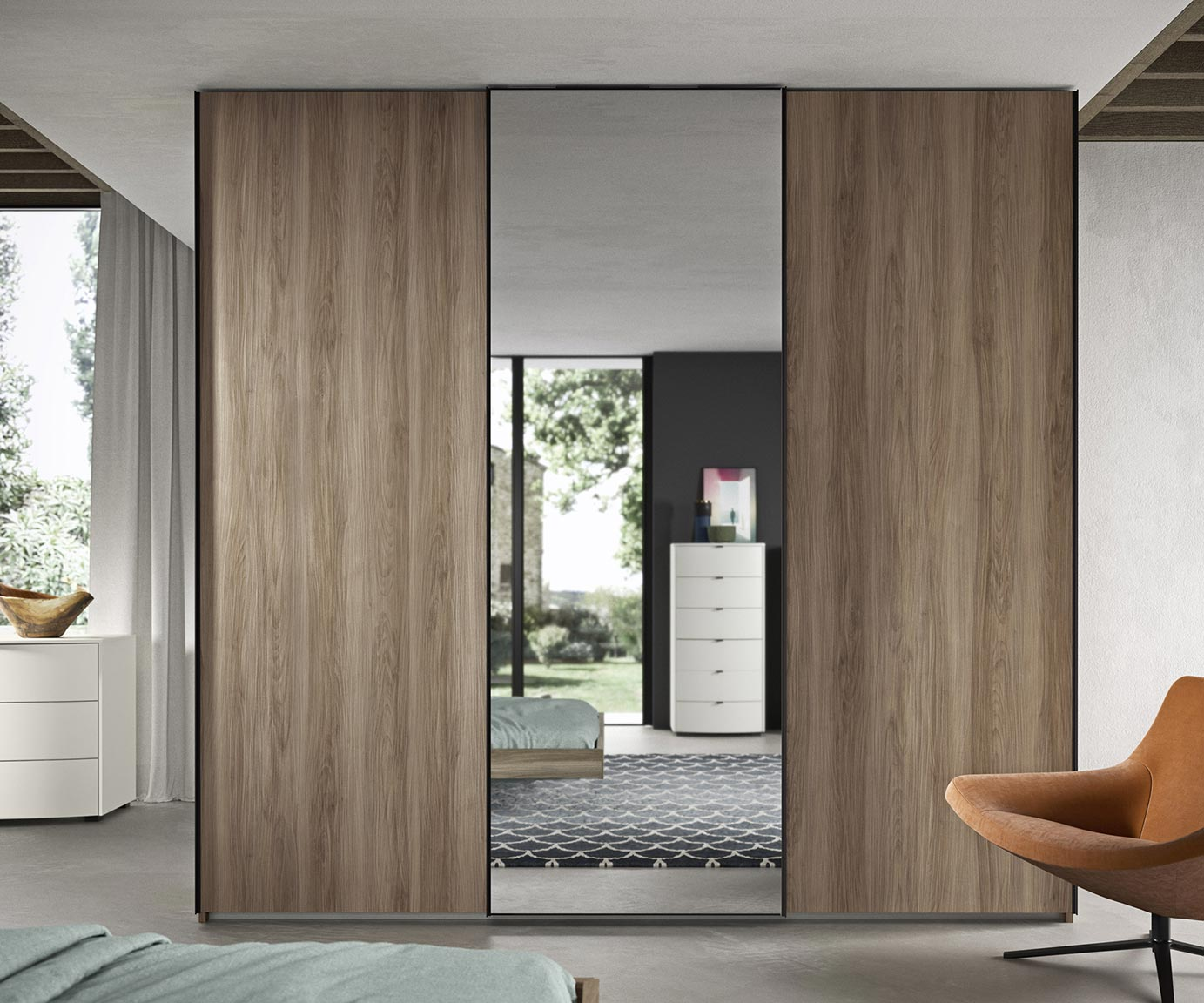 Armadio A Muro Design anta liscia / specchio - armadio scorrevole dal design