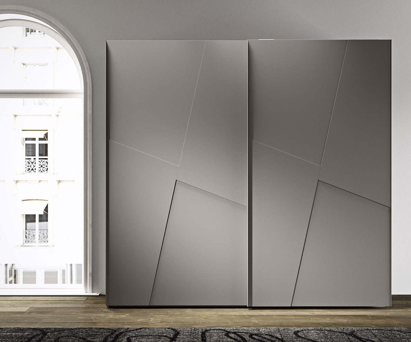 contemporary style sliding-door layer wardrobe 1