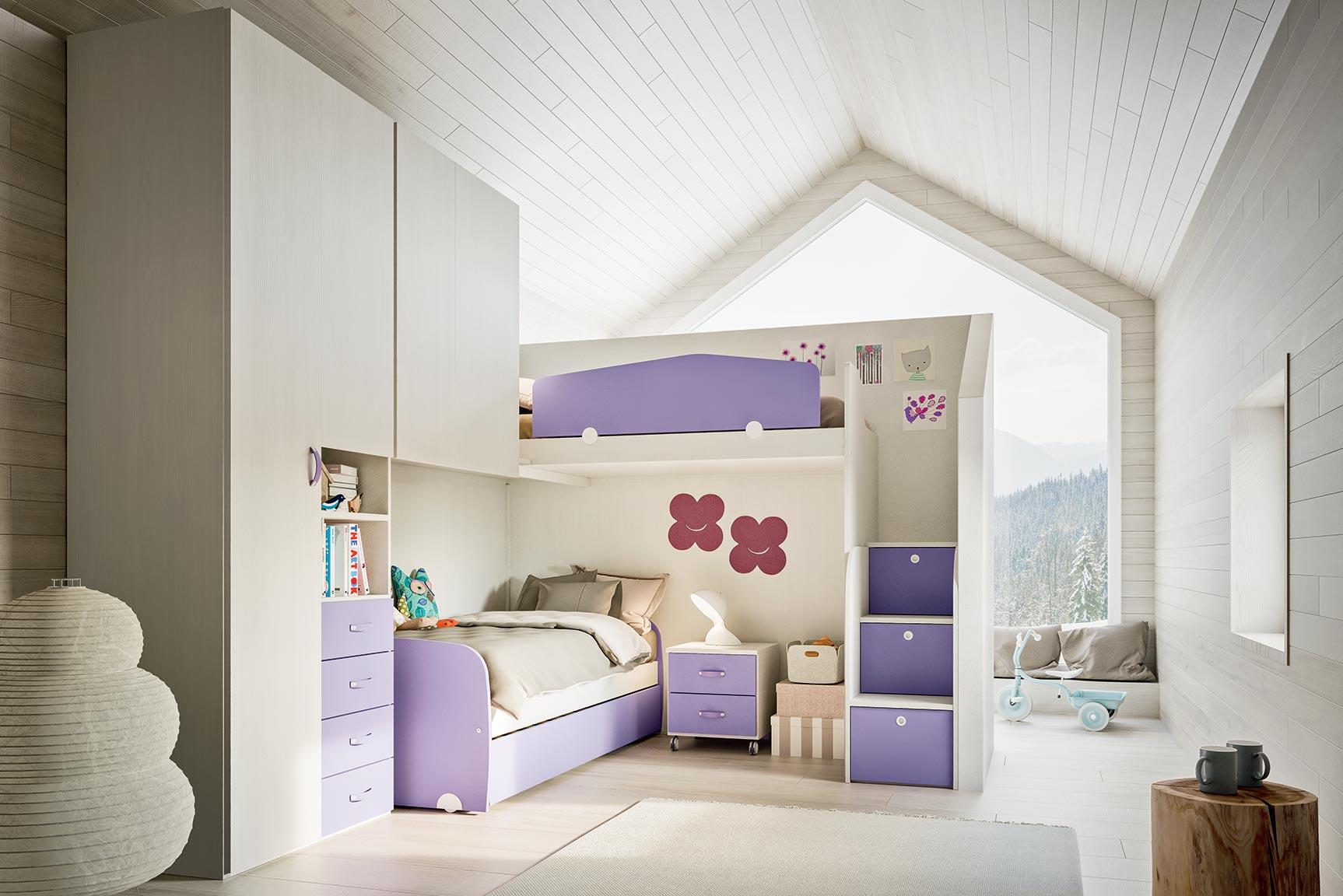 Soluzione Cameretta 2 Letti.Camerette Con Letti A Soppalco Mab Home Furniture