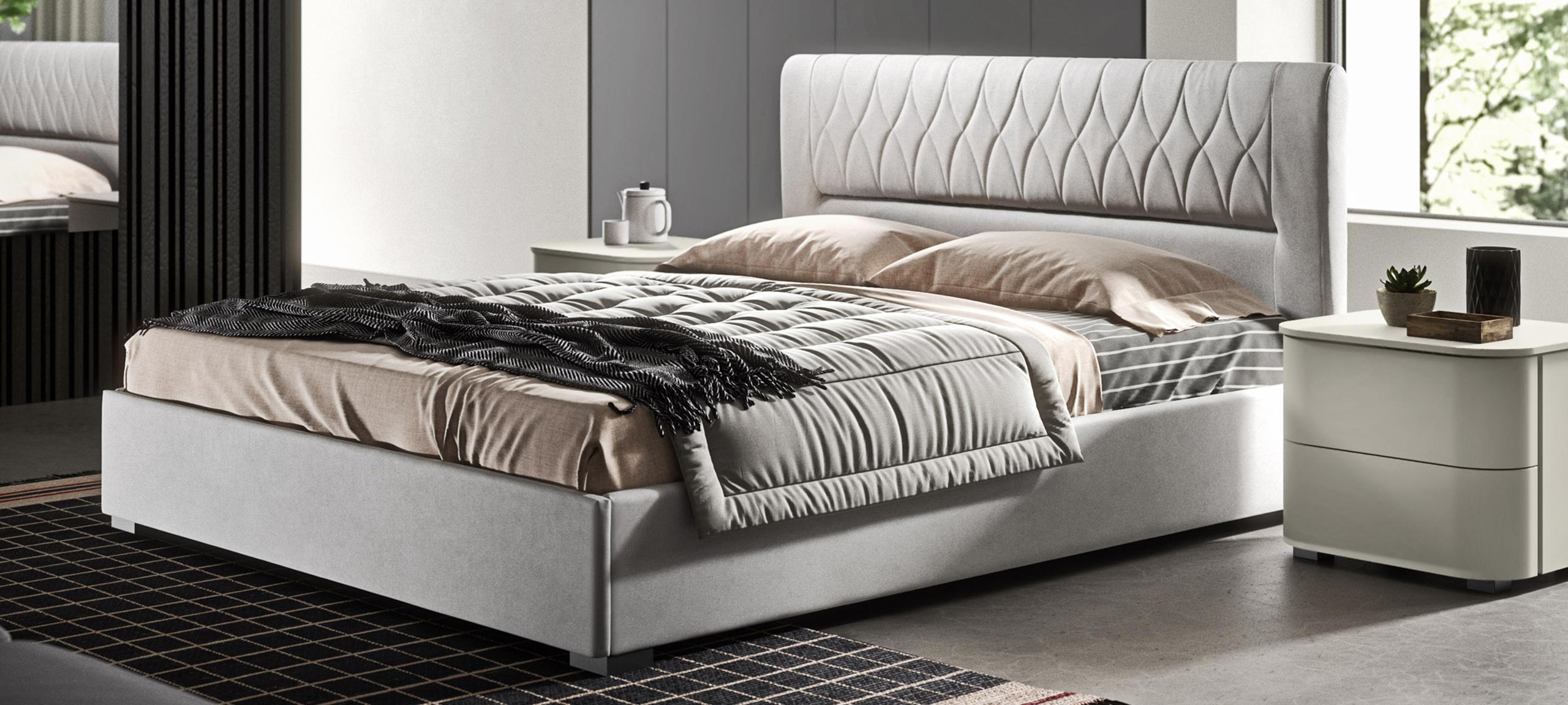 faux leather double bed with container 1