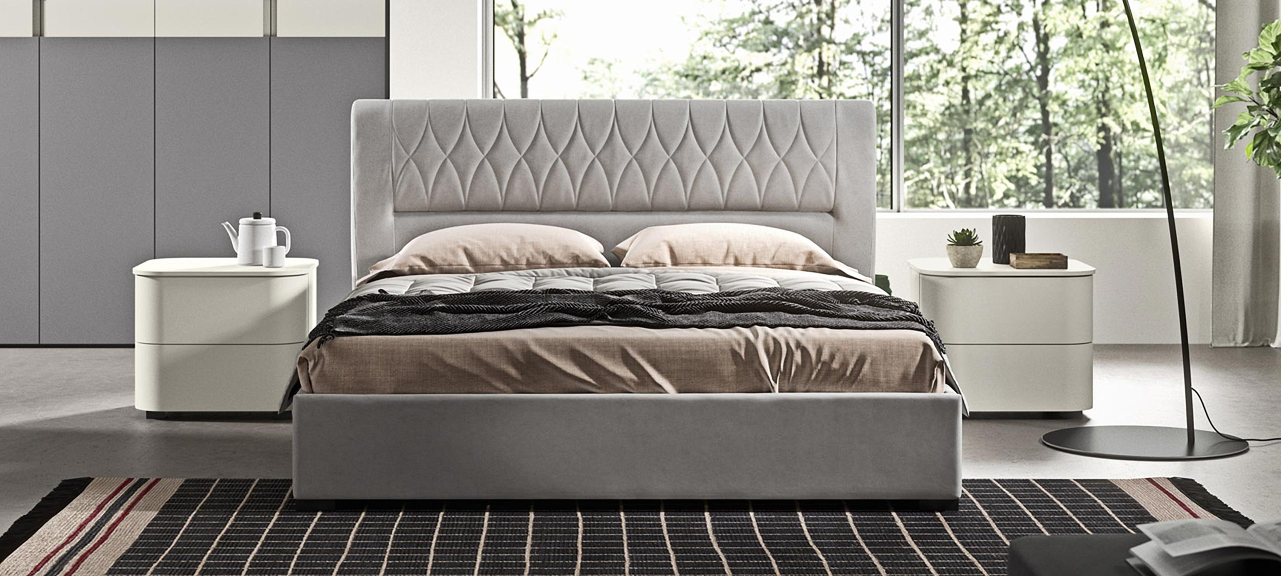 faux leather double bed with container 4