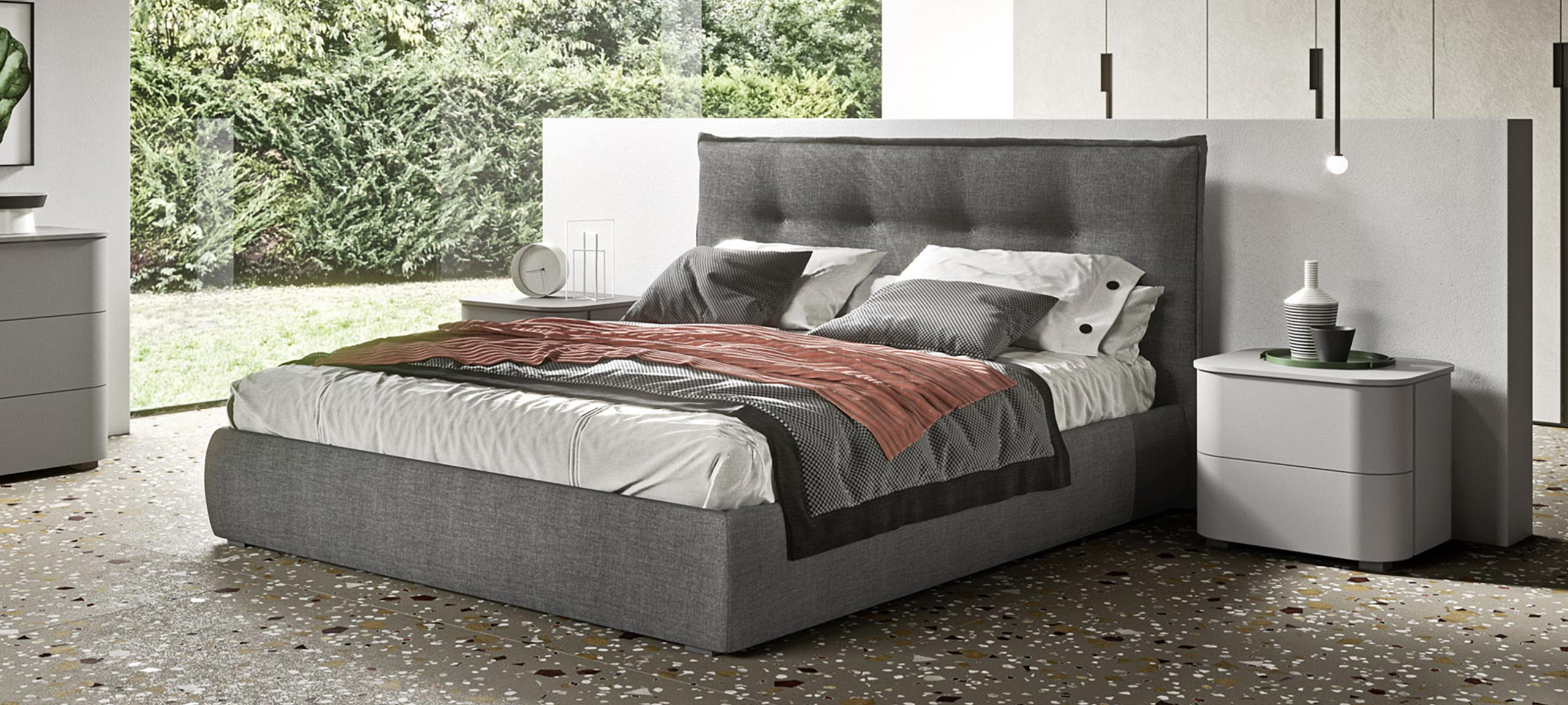 fabric-lined double bed with container 1