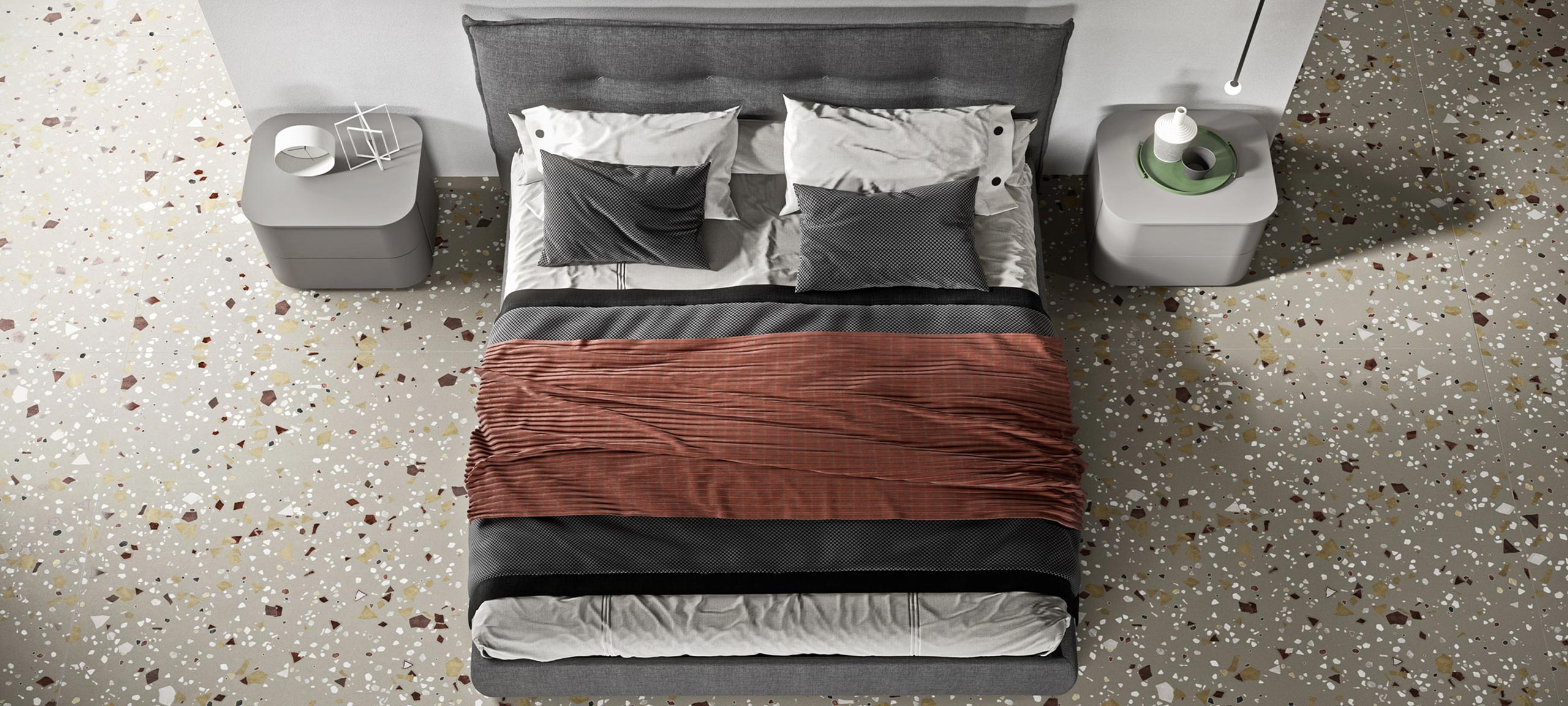 fabric-lined double bed with container 3