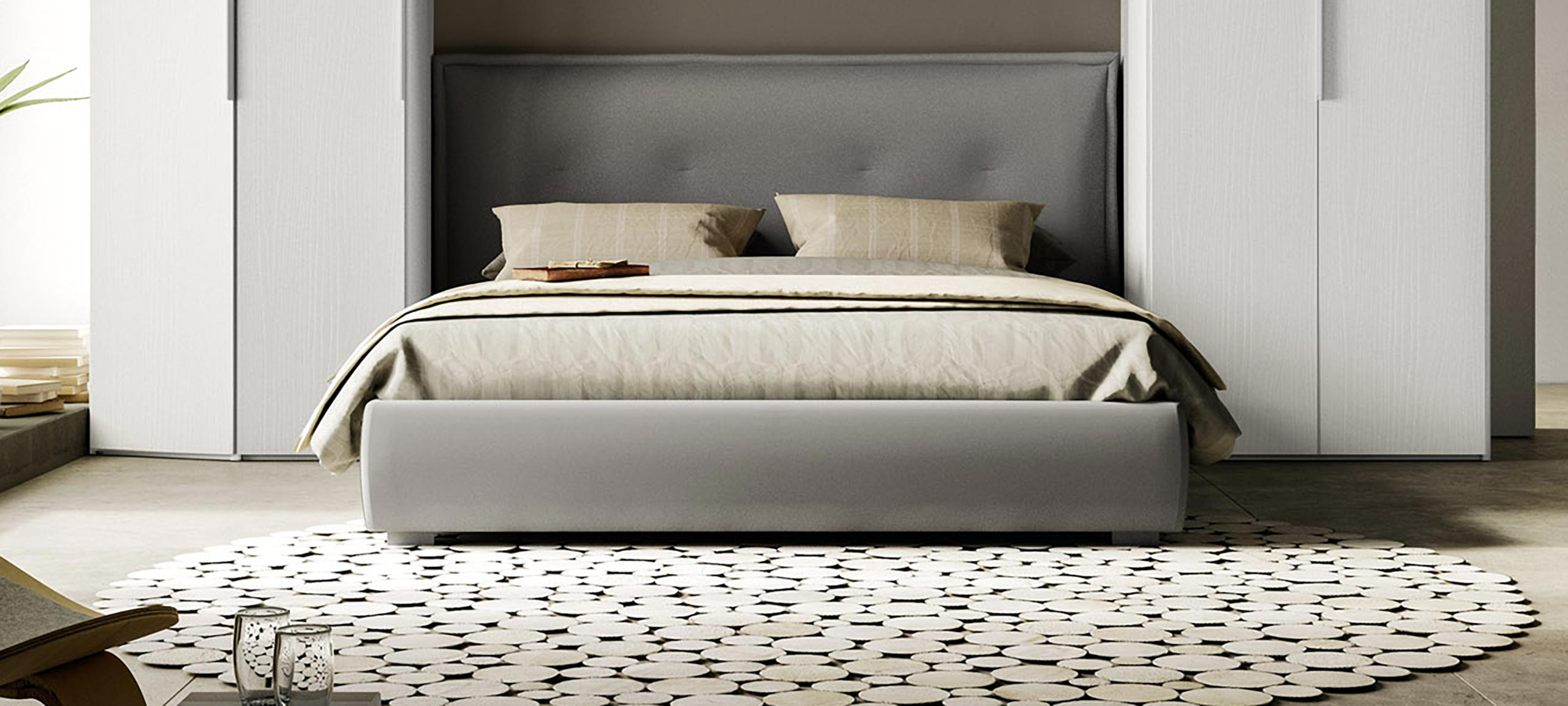fabric-lined double bed with container 5