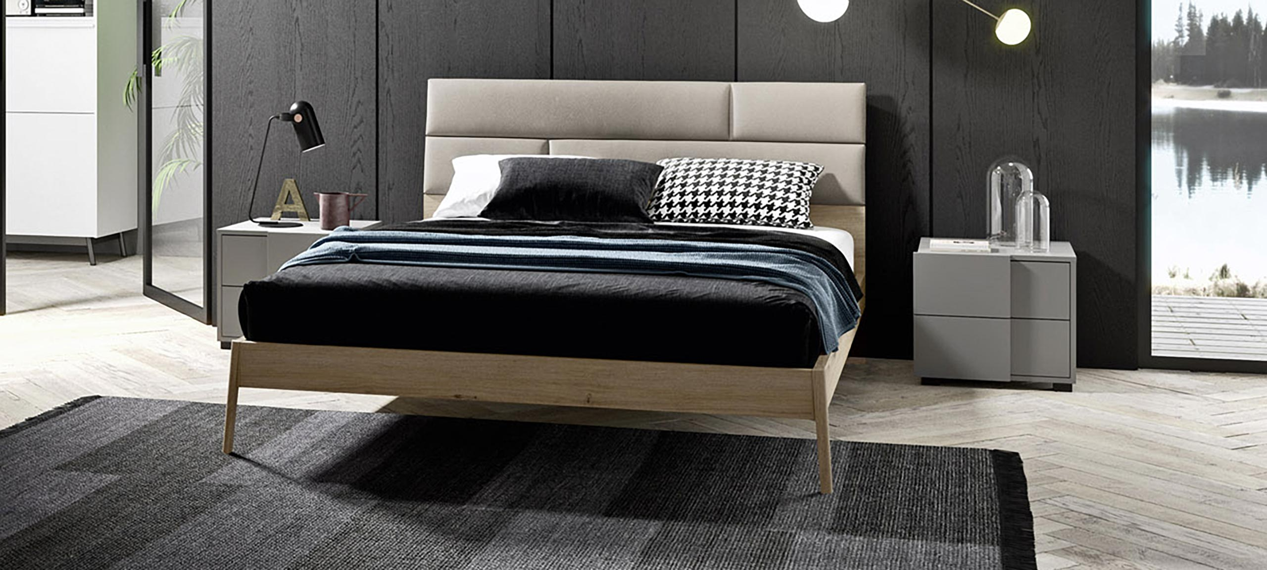 wooden double bed with faux-leather upholstered headboard 1