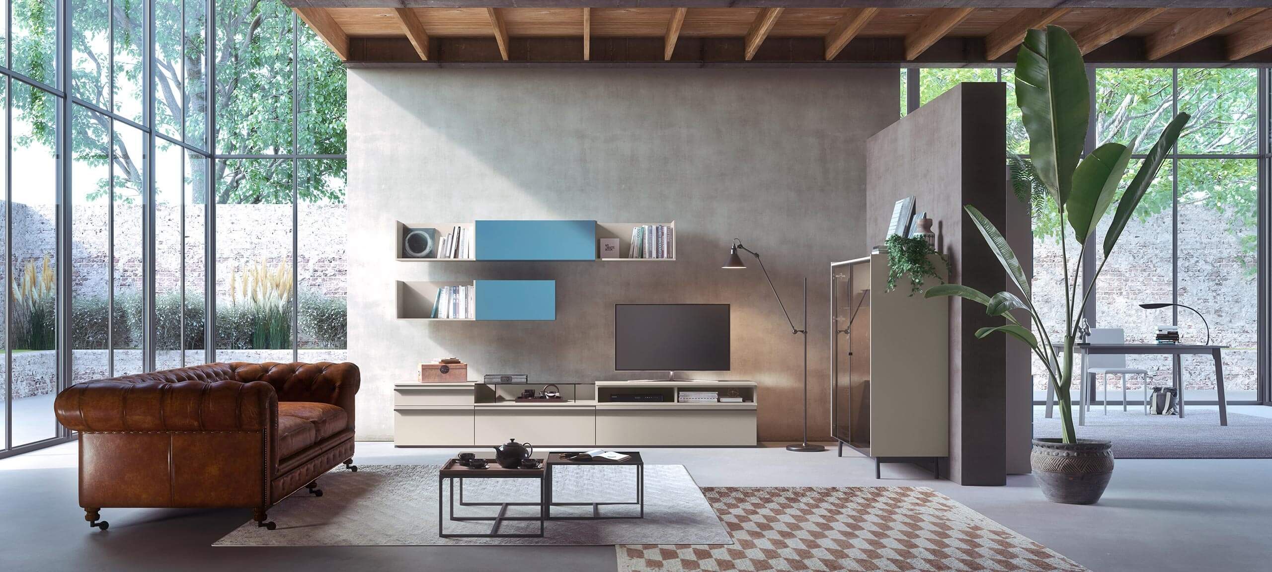 contemporary style TV storage wall for your living room 2