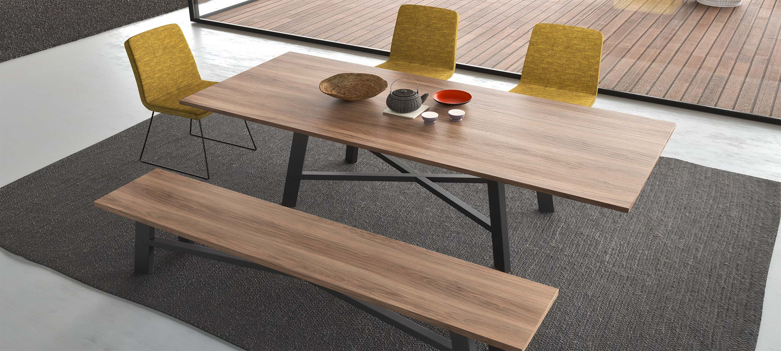 designer dining table benches chairs 1